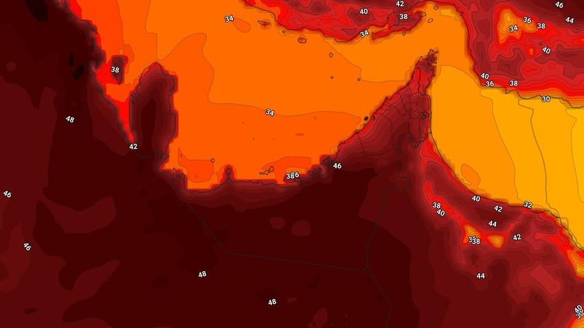 الإمارات   إستمرار تأثير الكتلة الهوائية شديدة الحرارة على الدولة الخميس