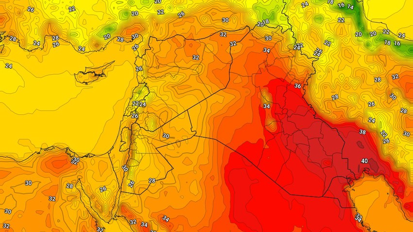 Iraq   An additional rise in temperatures, with a decrease in the speed of dust-inducing winds, Tuesday