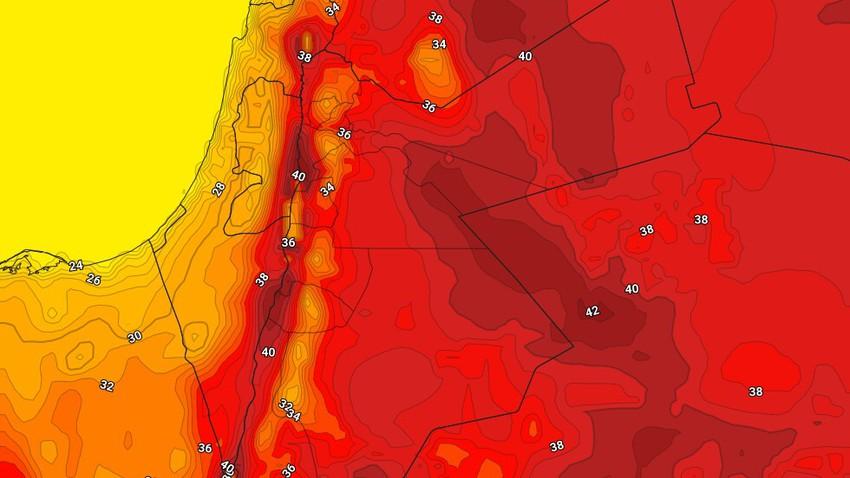 الخميس   اشتداد الكتلة الهوائية الحارة نسبيًا وذروة تأثيرها على المملكة