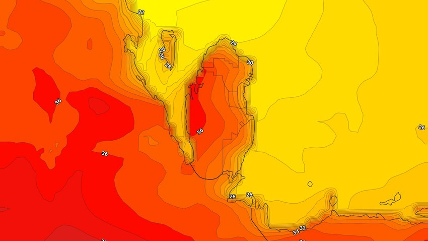 Qatar | Hot weather on Wednesday, with the emergence of quantities of clouds and the opportunity for showers of rain in some areas