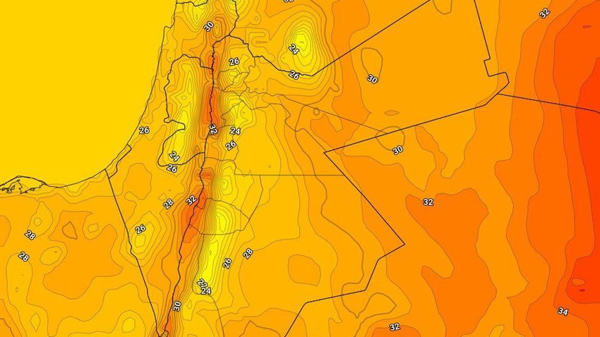 Jordan | The Kingdom's susceptibility to a moderate temperature air mass increased on Tuesday