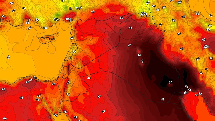 العراق | تعمق تاثير الكتلة الهوائية الحارة، ودرجات الحرارة تقترب من ال50 درجة في العاصمة بغداد