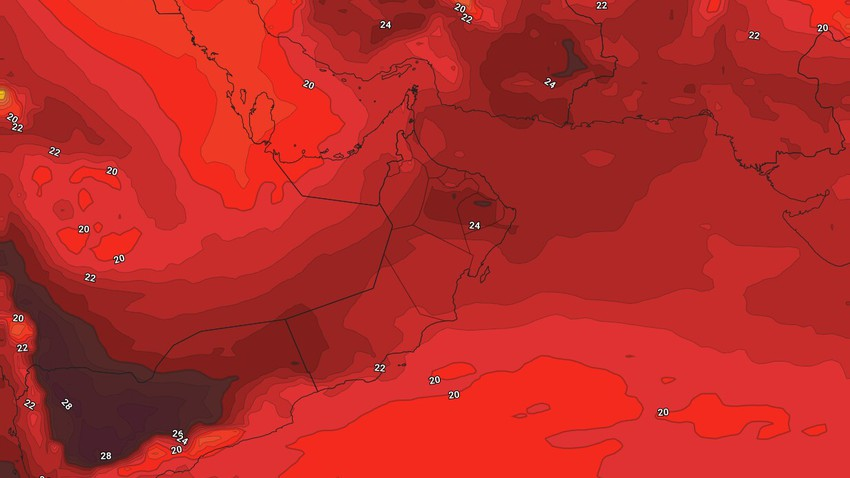 عُمان - نهاية الأسبوع | طقس حار إلى شديد الحرارة في مُختلف المناطق وفرصة ضعيفة لزخات من المطر في اجزاء من المرتفعات الشمالية