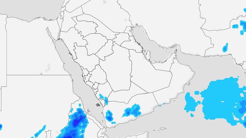 اليمن | نشاط السُحب الرعدية على المرتفعات الغربية وبعض المناطق الوسطى الإثنين
