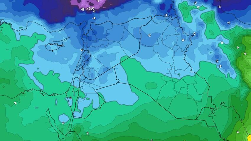 الأردن   استمرار هطول الأمطار والثلوج فوق المرتفعات الجبلية العالية خلال الايام القادمة . التفاصيل