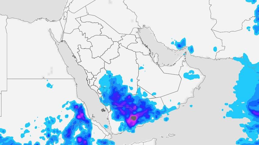 Yémen | Une intensification majeure des nuages orageux est attendue, et un avertissement de la formation de torrents torrentiels lundi