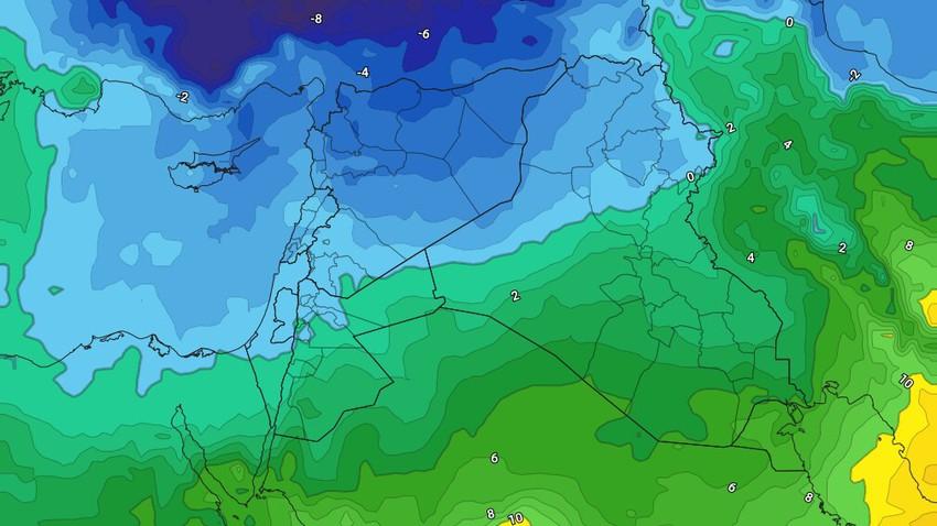 العراق - نهاية الأسبوع | استمرار هطول الأمطار والثلوج فوق المرتفعات الشمالية مع تشكل واسع للإنجماد