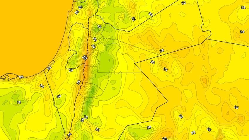 الأردن | ليالي مُعتدلة إلى لطيفة في الجبال والسهول حتى مُنتصف الاسبوع الحالي