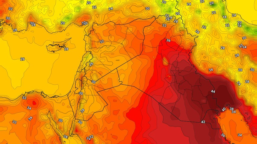 Kuwait | Stable weather, temperatures touching the mid-40s, with active winds still blowing