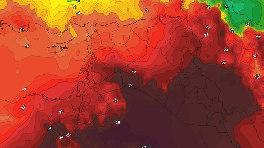 Bulletin hebdomadaire de l'Irak Temps chaud à très chaud et orages quotidiens dans des zones aléatoires