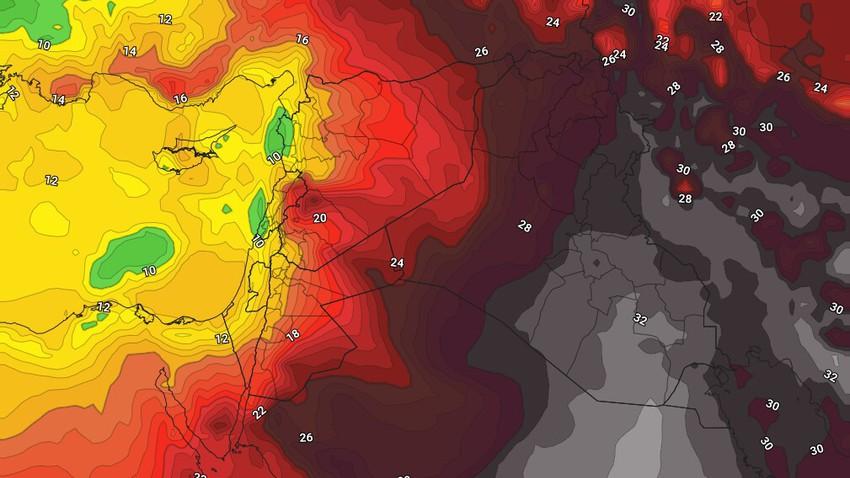 الأردن   تراجع على حدة الكتلة الهوائية الحارة نسبياً الجمعة وانخفاض واضح على درجات الحرارة السبت مع نشاط للرياح الغربية