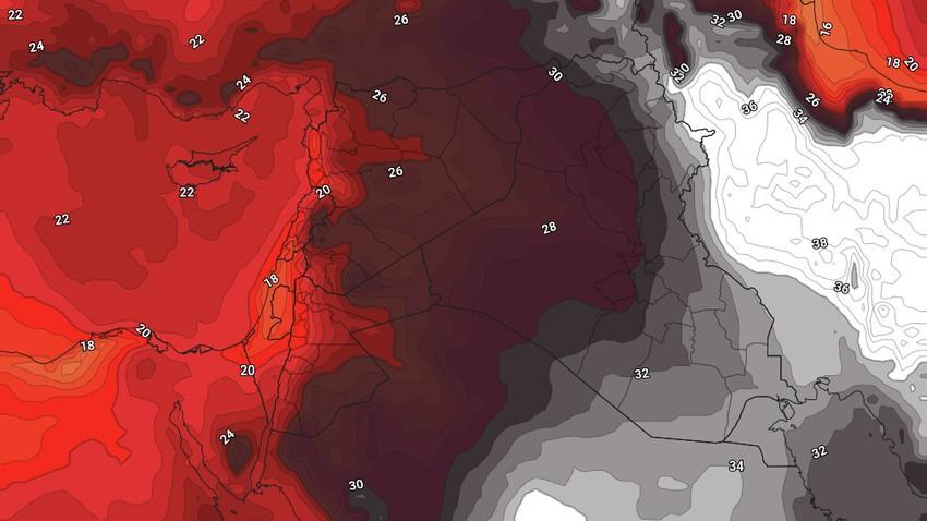 العراق | طقس شديد الحرارة مع نشاط على سرعة الرياح الشمالية الغربية خلال نهاية الأسبوع