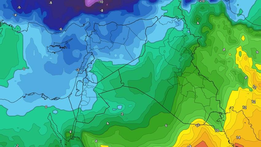 سوريا | منخفض جوي عالي الفعالية مترافق مع كتلة هوائية شديدة البرودة ومتبوع بموجة واسعة من الصقيع و الجليد