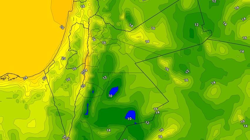 الأردن | ليالي باردة نسبيًا/باردة فوق المرتفعات الجنوبية والسهول الجنوبية الشرقية