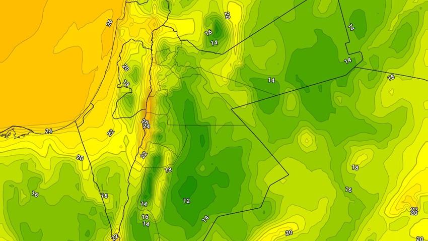 نهاية الأسبوع   ليالي مائلة للبرودة فوق المرتفعات مع إرتفاع ملحوظ في نسب الرطوبة
