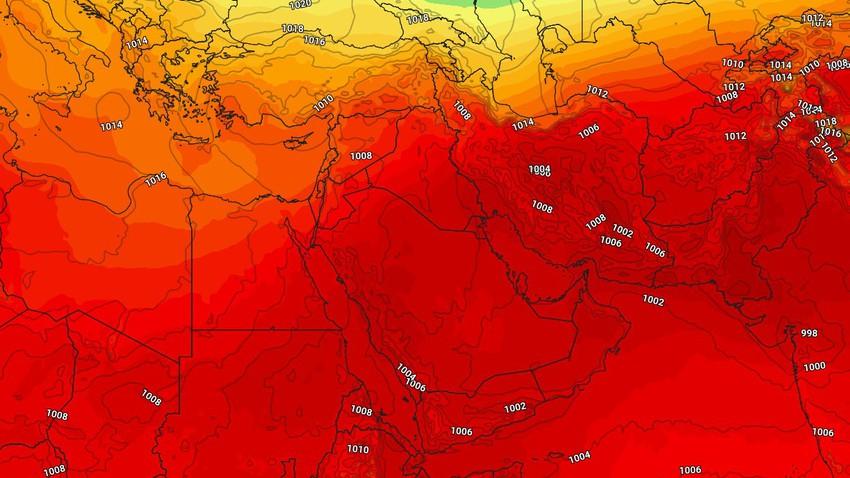 الخليج العربي   الاجواء الحارة مُستمرة ورياح نشطة تتسبب بإثارة الأتربة والغُبار واضطراب للامواج على الشواطئ