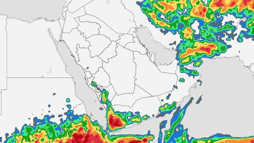 السعودية | استمرار فرص زخات الأمطار الرعدية في العديد من المناطق يوم الاربعاء