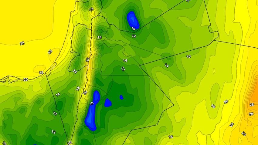 انخفاض على درجات الحرارة اعتباراً من مساء الجمعة , ومنخفض جوي الاحد