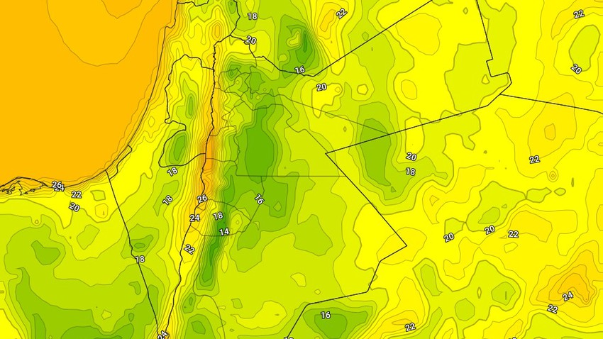 الأردن | ليالي لطيفة إلى مُعتدلة وتميل للبرودة فوق بعض المناطق خلال الأيام القادمة