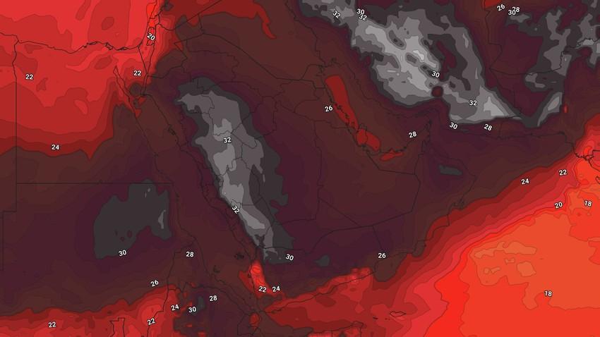 الخليج العربي | الأجواء الحارة هي السمة البارزة تزامناً مع إستمرار نشوء احوال جوية غير مُستقرة في بعض المناطق ينتج عنها هطول للأمطار الرعدية