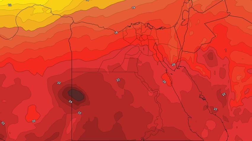 النشرة الأسبوعية - مصر | ارتفاع متصاعد على الحرارة يبلغ ذروته باجواء حارة نهاية الأسبوع