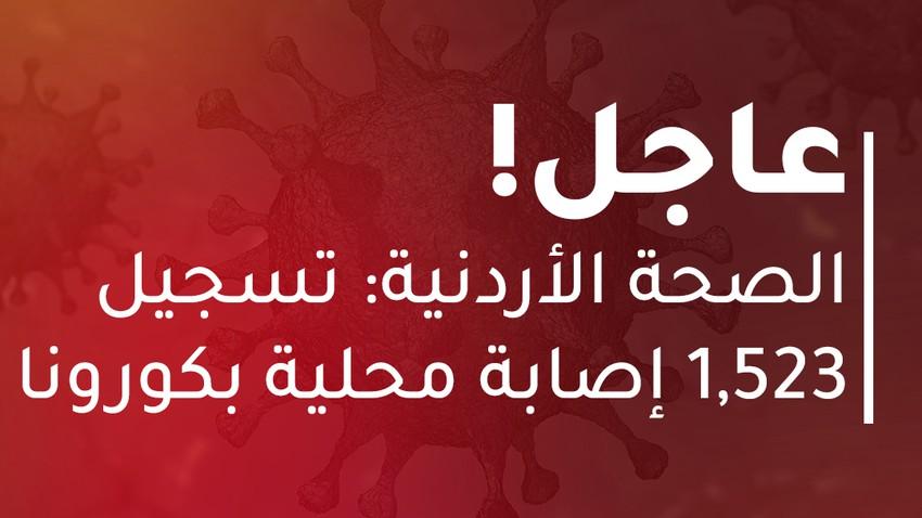 الصحة الأردنية: 1,523 إصابة محلية بكورونا و28 حالة وفاة