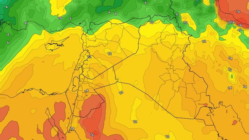 الأردن   مؤشرات على اندفاع كتلة هوائية دافئة وغير مُعتادة لمثل هذا الوقت إعتبارًا من بداية الأسبوع المقبل