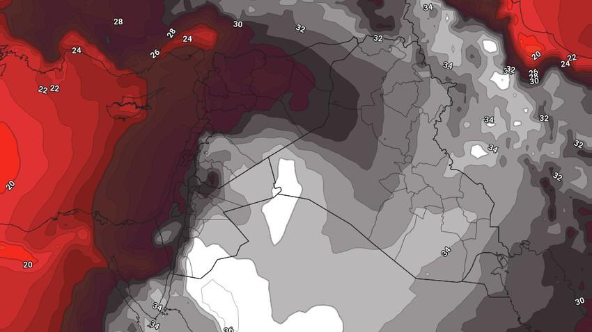 الأردن   الموجة الحارة تؤثر على المملكة إعتباراً من الأربعاء وتستمر لعدة أيام وتترافق بإرتفاع على نسب الرطوبة السطحية