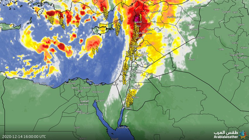 تحديث 6:30 م: هطول أمطار رعدية في المناطق الجنوبية بما فيها محافظة ومدينة العقبة