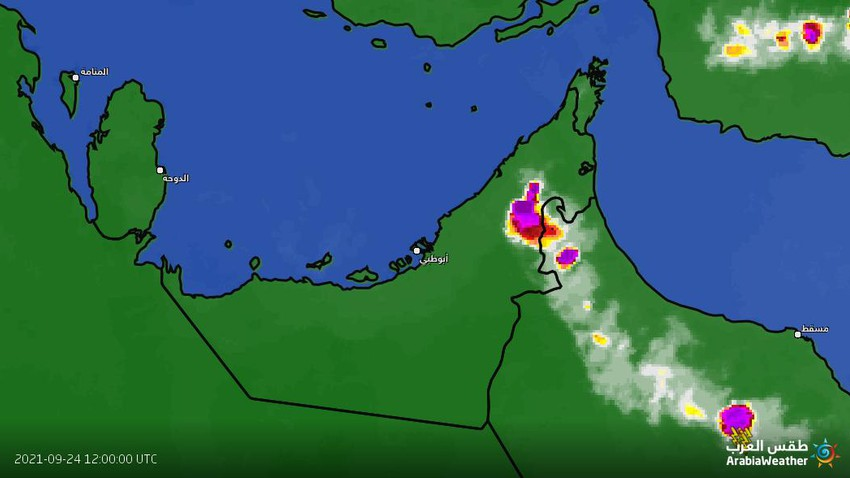 Emirates - update at 04.40 pm | Heavy rain clouds over the eastern interior and the possibility of its extension towards the city of Dubai