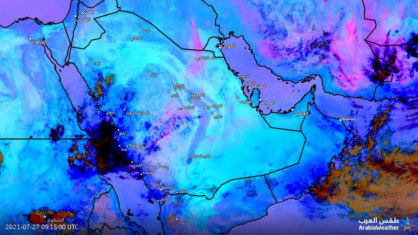 Saudi Arabia - update at 12.50   Dust wave moving towards Hafar Al-Batin and an increase in the proportion of dust in parts of Riyadh during the coming hours
