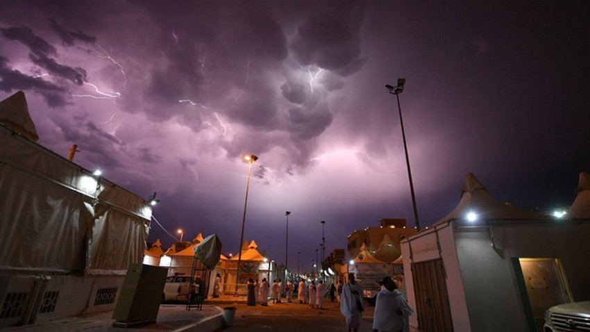 مكة المكرمة | تجدد فرص الامطار الرعدية مع ساعات عصر ومساء اليوم