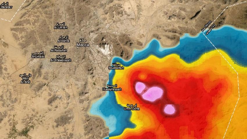 تحديث 5:25م   سُحب رعدية قوية تقترب مكة المكرمة الآن .. والأمطار متوقعة الساعة القادمة