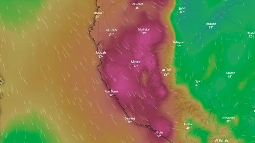 مكة المكرمة | رياح نشطة تثير الغبار ودرجات حرارة أربعينية يوم الثلاثاء