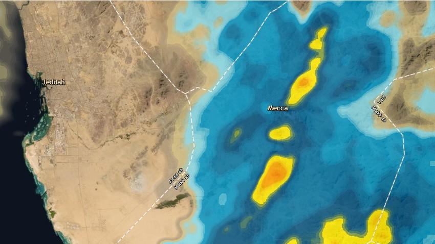 تحديث 1:00 صباحاً   امطار متفرقة في مكة المكرمة والمشاعر المقدسة