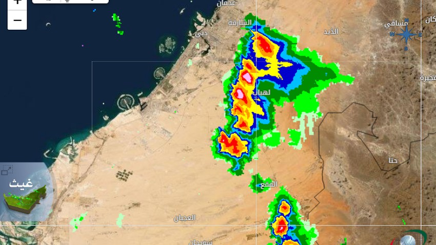 Emirates | Dust wave affecting Dubai, Sharjah, Ajman and heavy rains present in the south