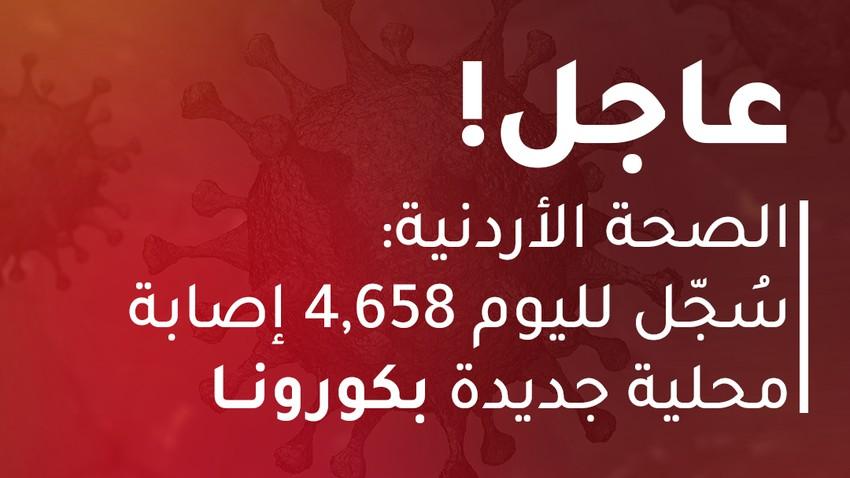 الصحة الأردنية: 4,658 إصابة محلية بكورونا و 62 حالة وفاة (رحمهم الله)