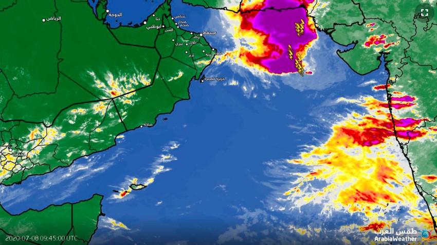 بحر العرب | آخر تطورات الاضطراب المداري وتوقعات الساعات القادمة