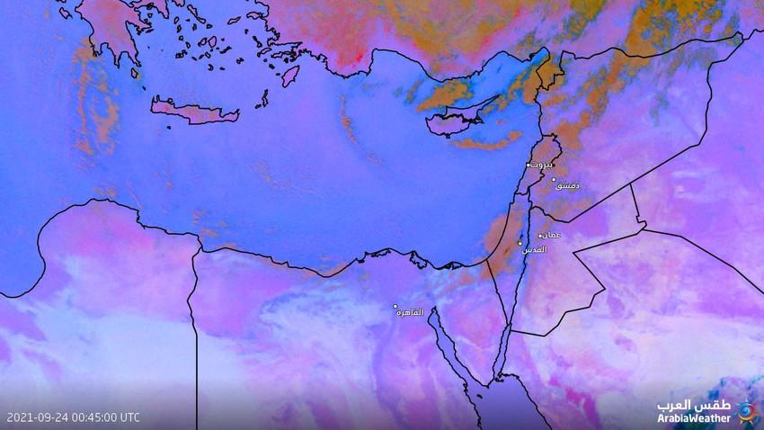 Jordan - Update at 06:30 AM | Rain clouds approaching Karak and Tafila