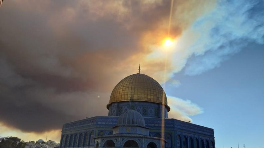 Urgent   Un grand incendie près de la ville occupée de Jérusalem