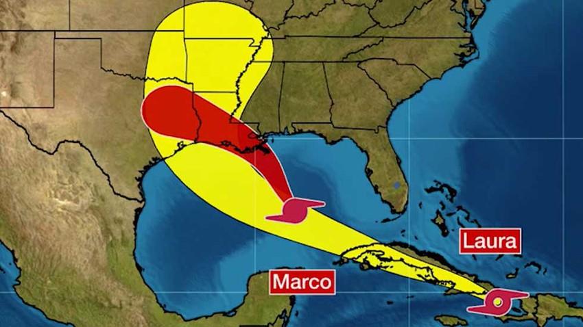 """مع اقتراب العاصفتان """"لورا"""" و """"ماركو"""" من سواحل جنوب أمريكا.. الحكومة تجلي آلاف السكان"""