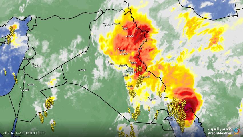 العراق | سُحب رعدية قوية على شمال شرق البلاد وتنبيهات من تشكل السيول