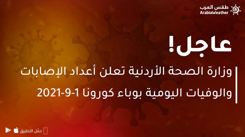 وزارة الصحة الأردنية تعلن أعداد الإصابات والوفيات اليومية بوباء كورونا ليوم الأربعاء 1-9-2021