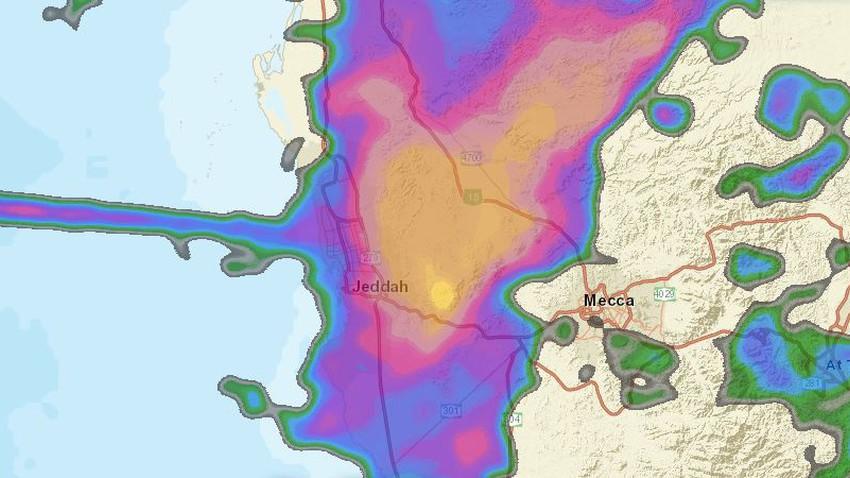تحديث 7:40م | زخات امطار رعدية بعد قليل على مدينة جدة
