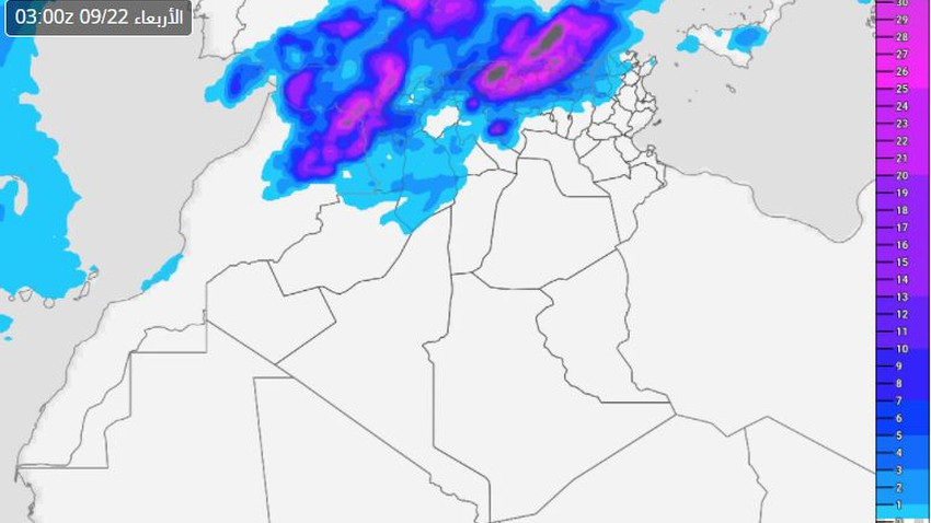 Algeria | Large parts of the northern regions are on the date of heavy rain tonight, which calls for attention from the formation of torrential rains