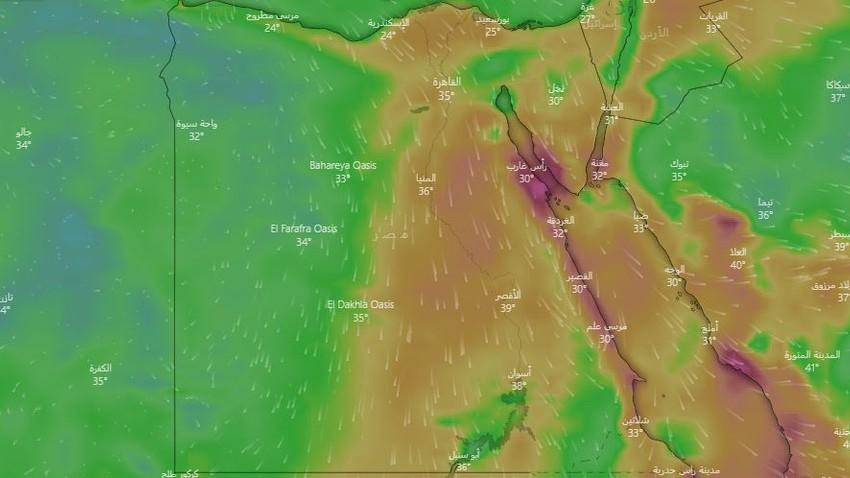 مصر | طقس صيفي اعتيادي ورياح نشطة تثير الأتربة والغبار على أجزاء من الجمهورية الأيام القادمة