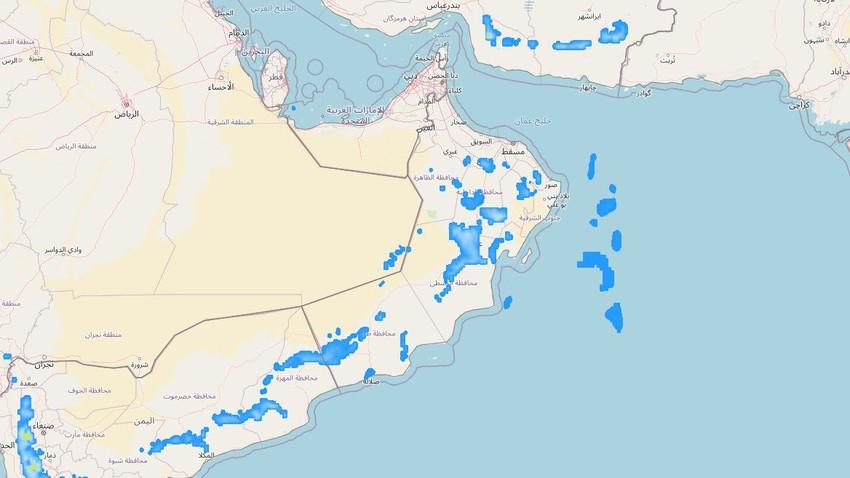 سلطنة عُمان | تحسن فرص الأمطار الرعدية على بعض المناطق خلال الأسبوع القادم