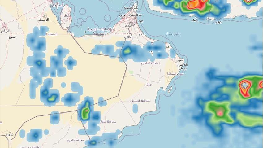 سلطنة عُمان | تفاصيل المناطق المشمولة بتوقعات الأمطار وشدتها ليوم الخميس