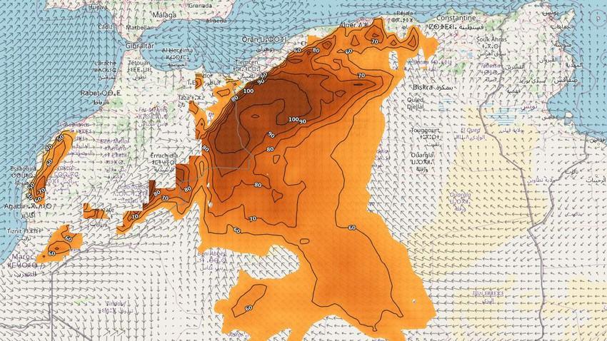 الجزائر | المناطق المشمولة بتوقعات الموجات الغُبارية يوم الثلاثاء
