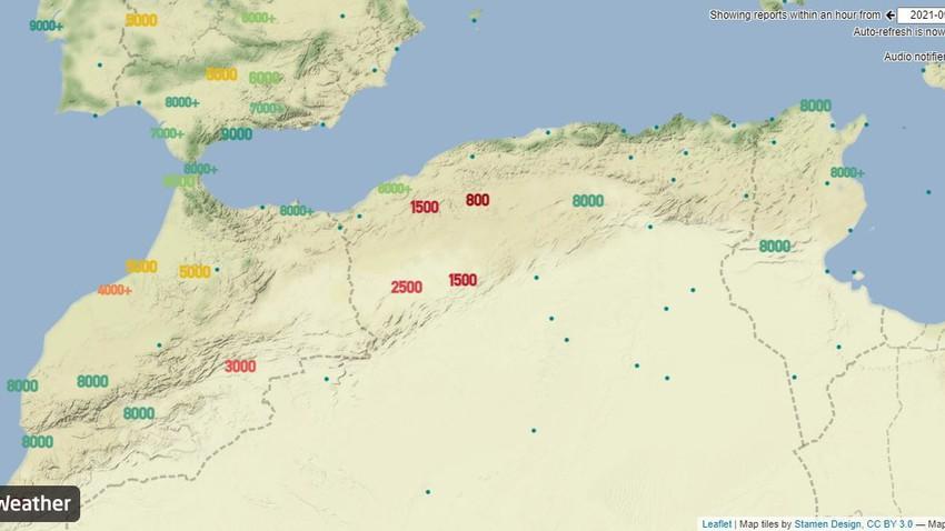 الجزائر   بداية تأثير موجة غبارية قوية على المناطق الشمالية الغربية والرؤية دون الـ 800 متر